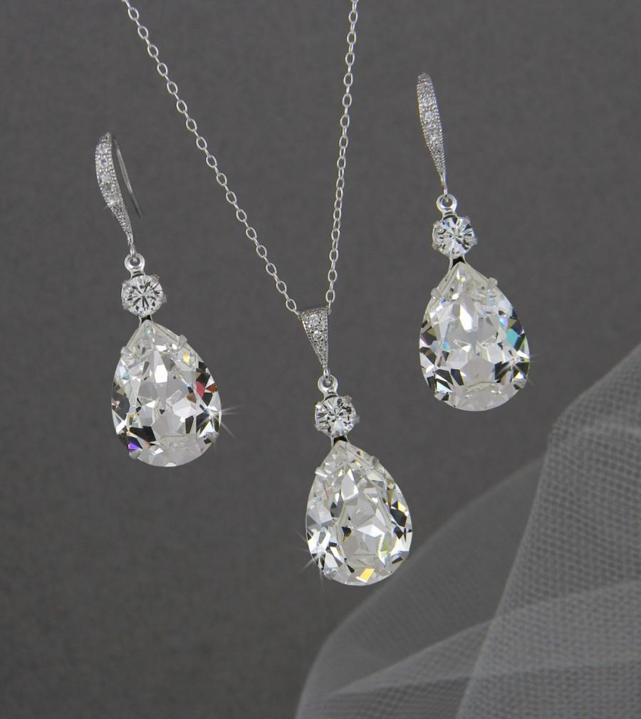 Crystal Pendant Necklace Set Earrings Bridal Jewelry Sterling Silver Sparkly Wedding Bridesmaids Drop