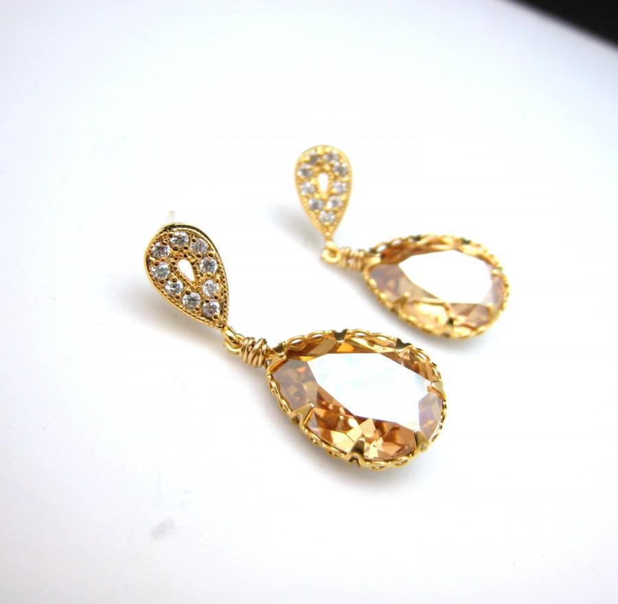 زفاف - wedding jewelry bridal jewelry wedding earrings party Swarovski golden shadow teardrop foiled pendant with gold teardrop post earrings.