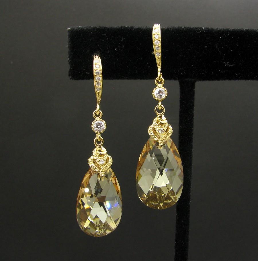 زفاف - wedding bridal golden shadow swarovski teardrop crystal with vermeil gold hook with cubic zirconia connectors - Free US shipping