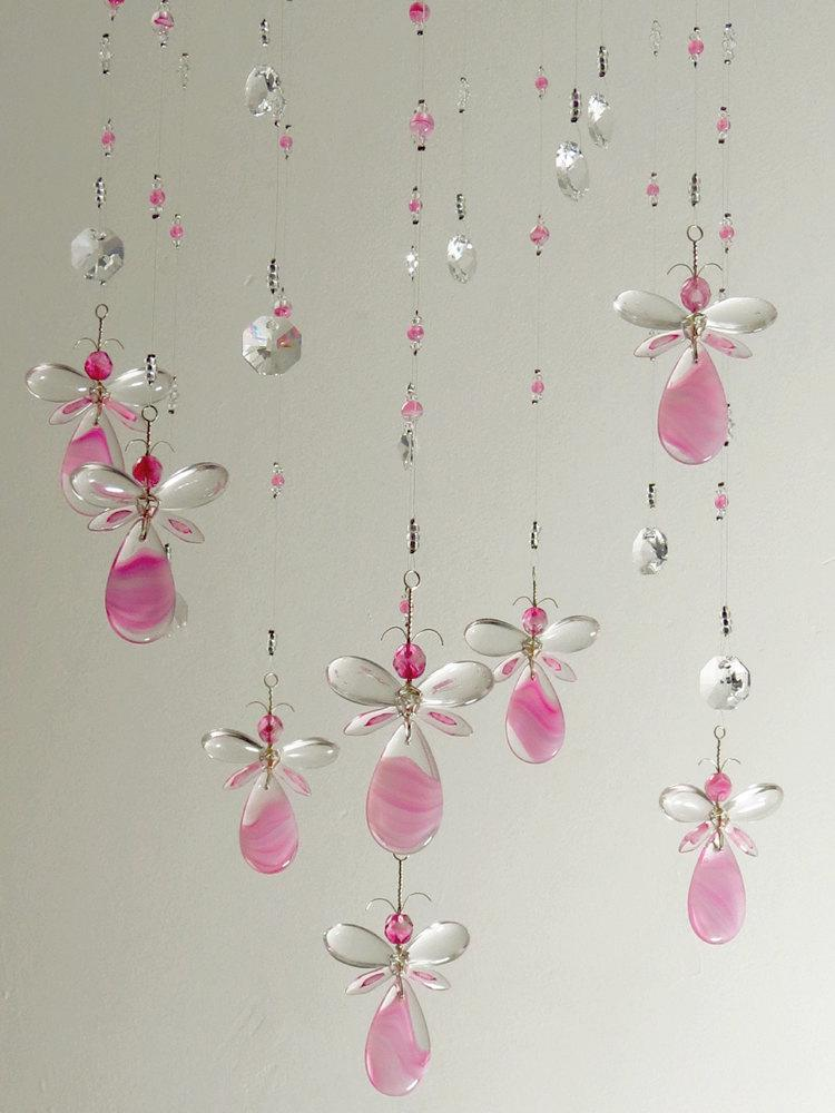 Girls room decor xmas gift pink fairy chandelier mobile flower girls room decor xmas gift pink fairy chandelier mobile flower mobile angel babyshower gift baby girl mobile nursery mobile birthday gift aloadofball Image collections