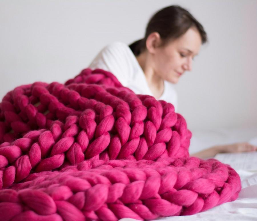 Mariage - Chunky Blanket. Knitted blanket. Merino Wool Blanket. Bulky Blanket. Extreme Knitting.