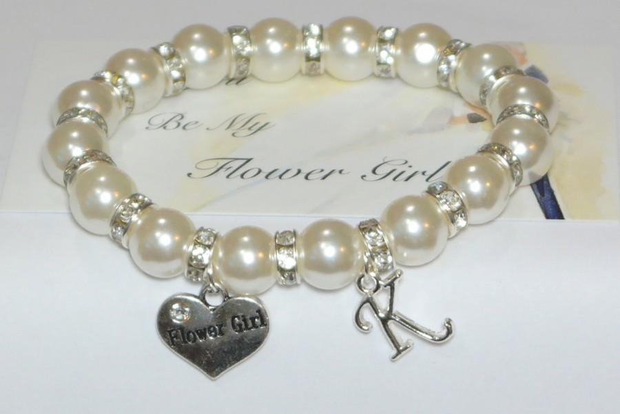 زفاف - flower girl bracelet - 7 1/2 INCHES AROUND - flower girl gifts - bridal party gift - thank flower girl - wedding jewelry - handmade bracelet