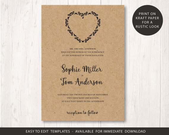 wedding invite template printable wedding invitation set rustic