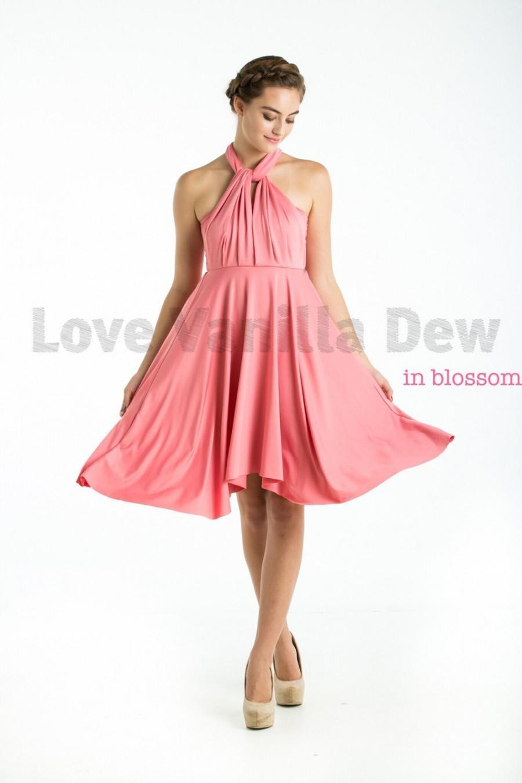 Свадьба - Bridesmaid Dress Infinity Dress Blossom Pink Knee Length Wrap Convertible Dress Wedding Dress