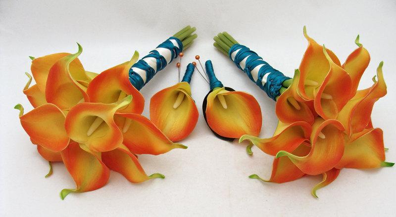 زفاف - Wedding Flower Package Flame Orange Real Touch Calla Lily Bridesmaids Bouquets Groomsmen Boutonnieres Teal Ribbon Choose Your Colors