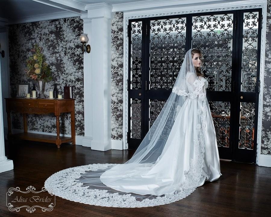 Свадьба - Wedding Veil - Drop Veil - Cathedral Drop Two-Tier Spanish Mantilla with Ultra Wide Vintage Beaded French Alencon Lace