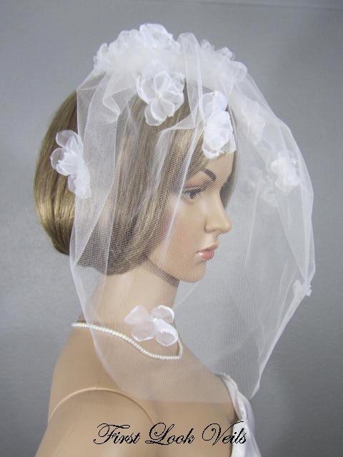 Свадьба - Birdcage Veil, Wedding Veil, Blusher, White Floral Pearl Cage Veil