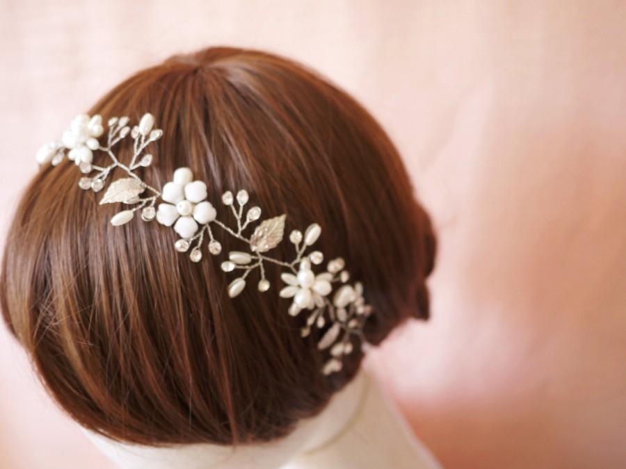 Mariage - SALE Silver Leaf Headband bridal headband flower headband pearl headband  hair vine silver leaf hair vine bridal halo crystal headband #70