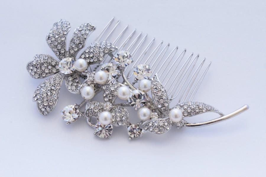 Свадьба - Wedding hair flower Bridal hair comb pearl Wedding hair comb vintage Bridal hair accessory Wedding headpiece Bridal hair jewelry Bridal comb