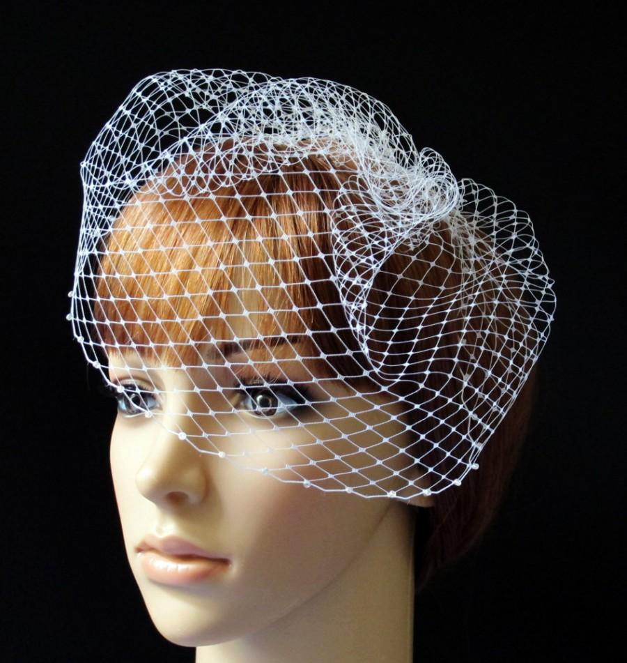 Свадьба - Birdcage Veil Pouf Style Bridal Cap with Beaded Edge White Ivory