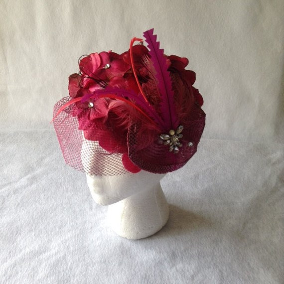 Свадьба - Magenta Flower Fascinator, Vintage Fascinator Hat, Magenta Kentucky Derby Hat, Magenta Wedding Fascinator, Pink Wedding Hats and Fascinators