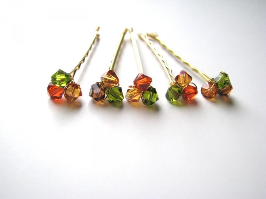 Свадьба - Fall Bobby Pin Crystal Clusters Brown Orange Green