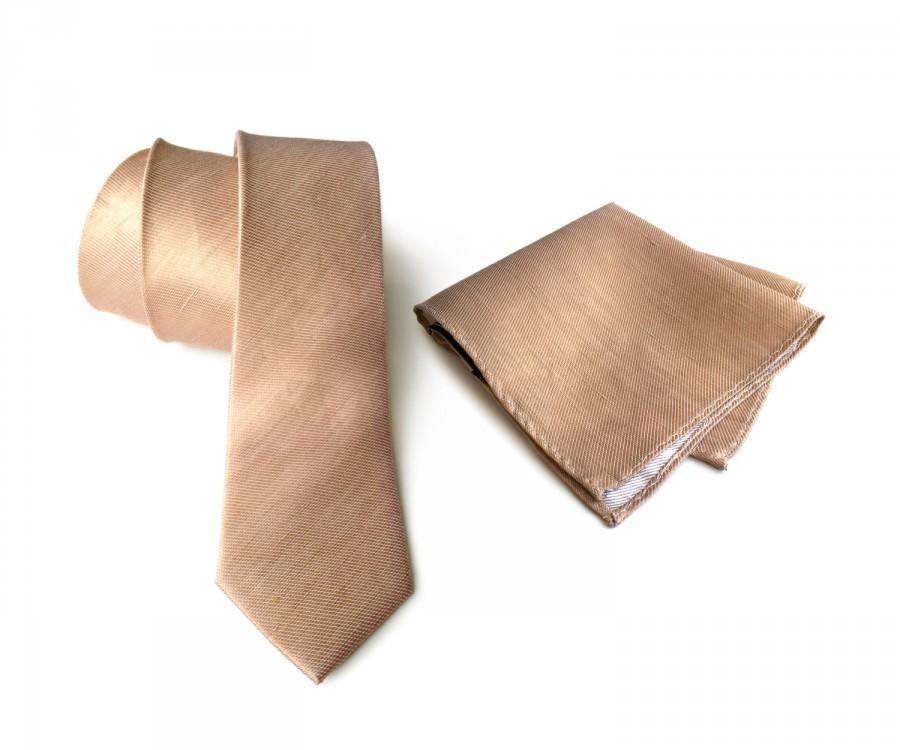 "Свадьба - Pale copper linen necktie. Tan woven silk & linen blend men's tie. ""Vernors"" rustic wedding necktie. Pocket squares available too!"
