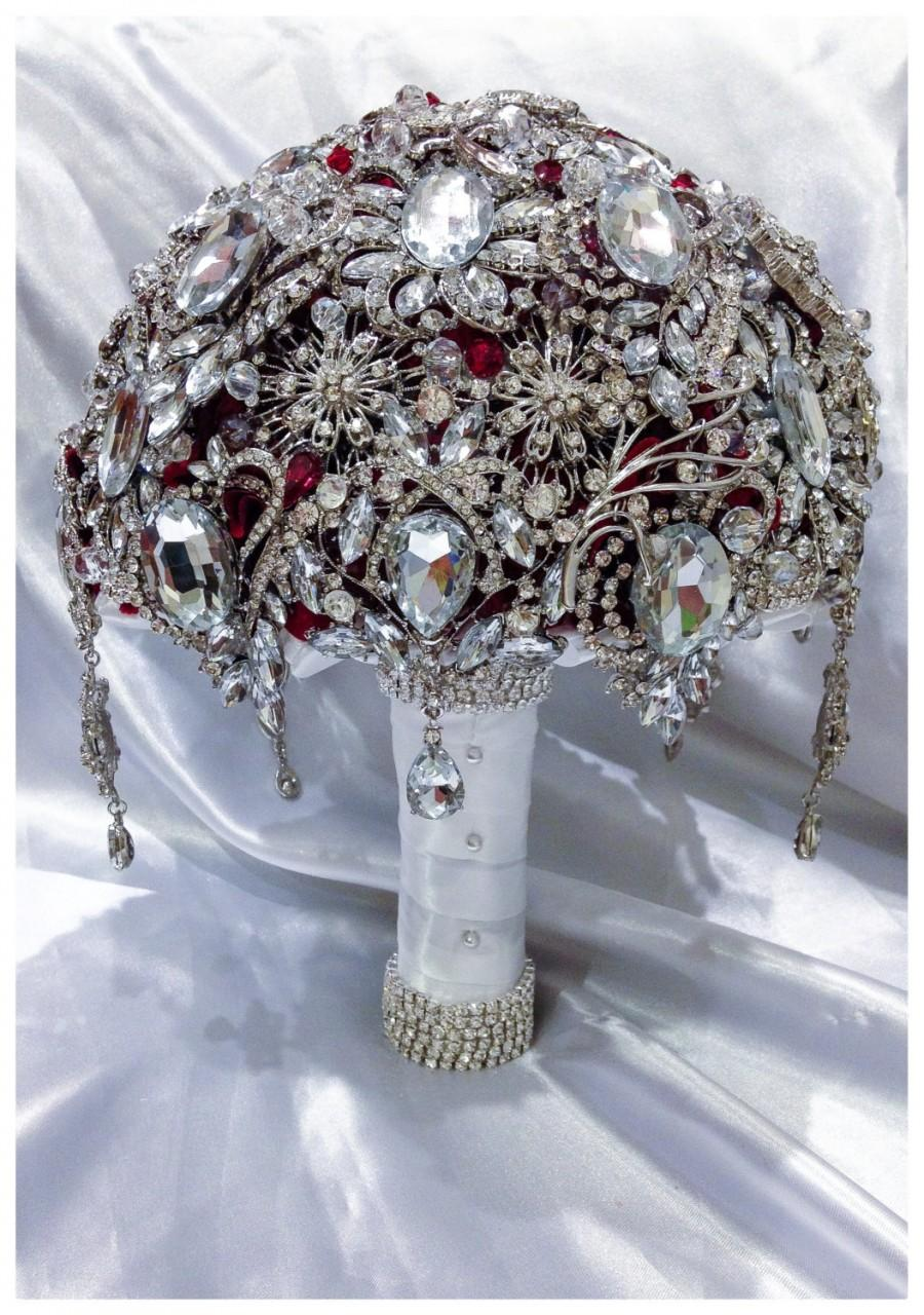 Mariage - Luxurious Ruby Red Silver Brooch Bouquet. White handle wrap. Deposit listing