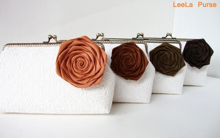 Hochzeit - Rustic Fall Wedding Ideas/ Set of 4 Personalized Bridesmaid Gifts, Burnt Orange and shade of brown silk rose removeable Flower