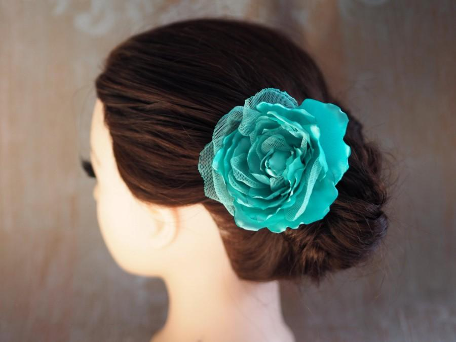 Свадьба - Flower Clip Brooch, Bridesmaid Head Piece, Mint Green Hair Flower, Mint Hair Accessory, Mint Flower Clip, Shabby Chic Flower Clip