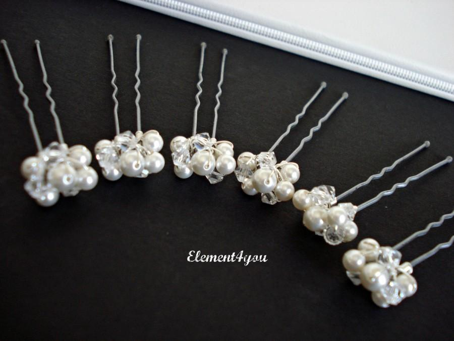 Свадьба - Small Hair pins, Ivory white Swarovski pearls Crystals, Silver pearl clusters, Bridal hair piece, Bridesmaid gift, Wedding Hair accessories