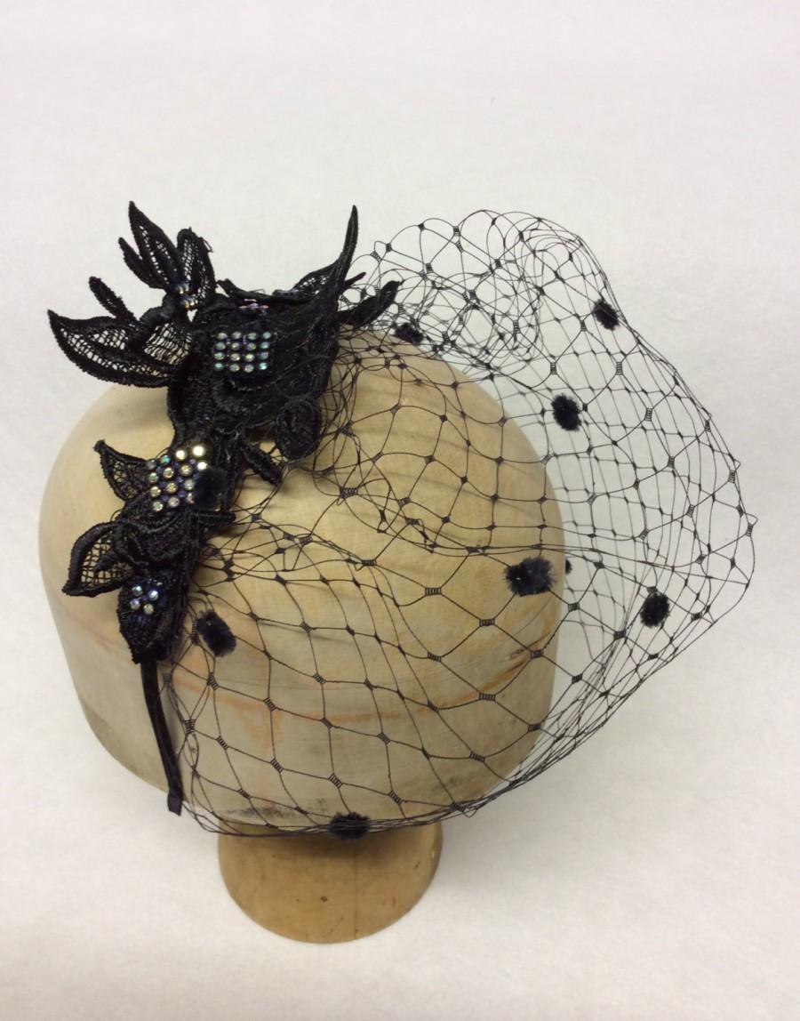 Свадьба - Black lace and Swarovski AB Crystal fascinator Chic Veil Birdcage