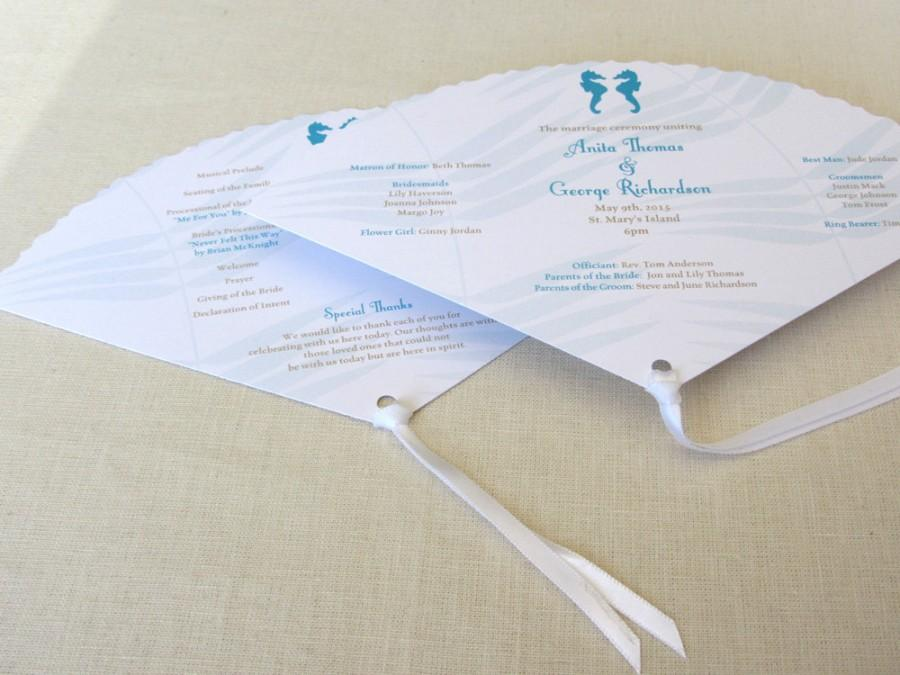 Свадьба - Seahorse Beach Fan Wedding Program - Palm Leaf Ceremony Program - SAMPLE