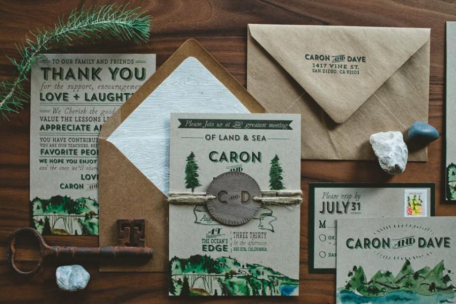 زفاف - Rustic Woodland Water Color Wedding Invitation : Land and Sea, Big Sur Inspired