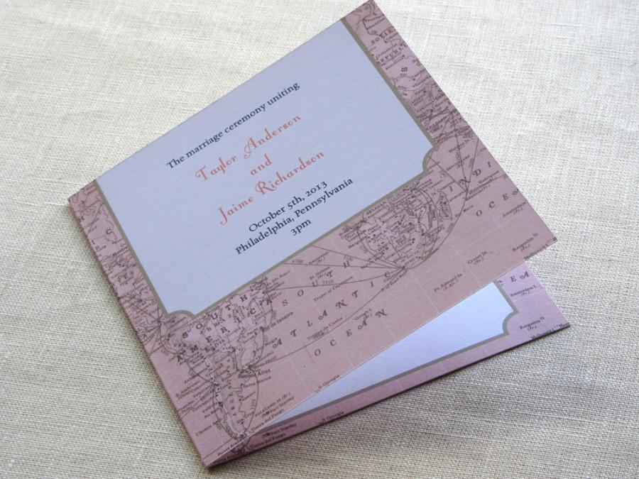 Vintage Map Wedding Program