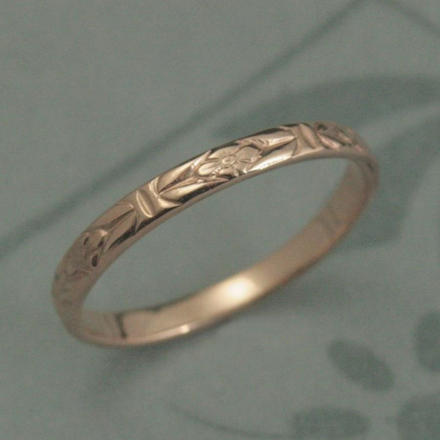Свадьба - 14K Solid Rose Gold Romance in the Garden Wedding Band or Stacking Ring--Solid 14K Rose Gold Floral Patterned Ring--Custom Made in YOUR siz