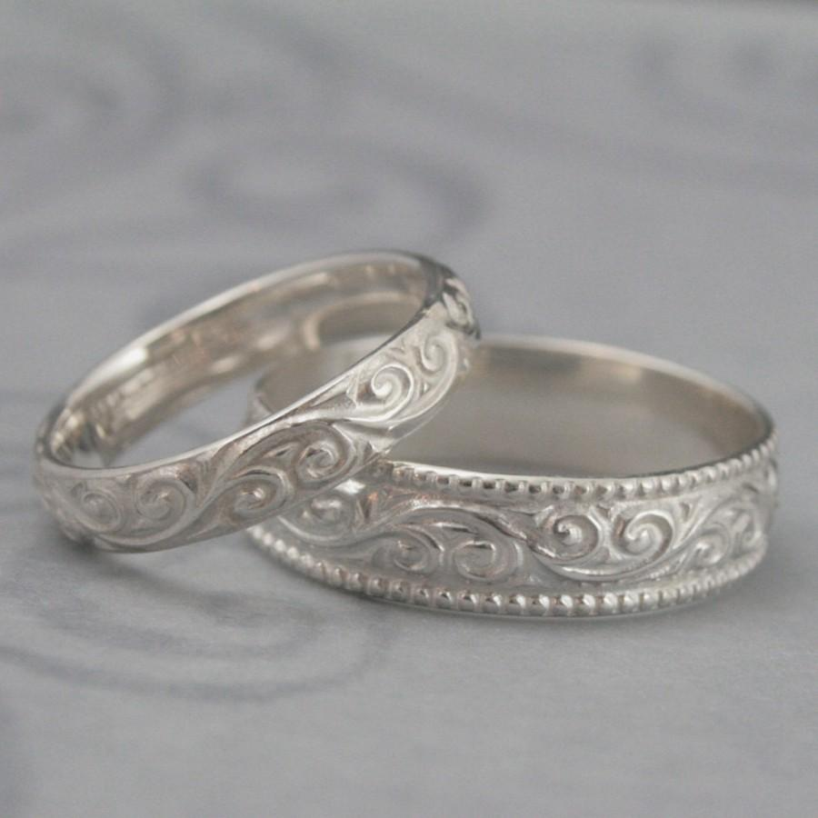 wedding flourish wide wedding band set sterling silver swirl