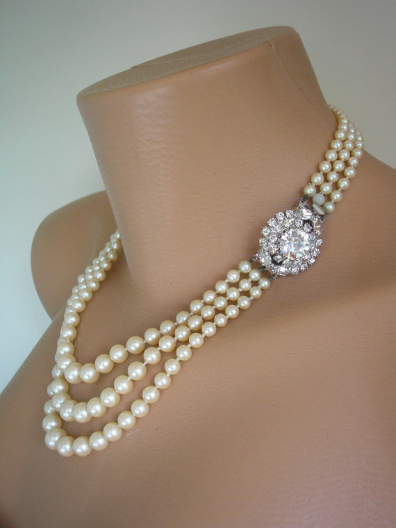 Pearl Necklace Choker Mother Of The Bride Bridal Jewelry Great Gatsby Pearls Wedding Rhinestone Deco