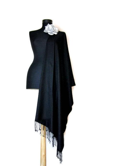 Mariage - Classy Black Shawl, Black Wedding Shawl, Soft Luxury Pashmina, Fashion Scarf, Elegant Wrap, Bridesmaid Gift, Wedding Favor, Flower Brooch