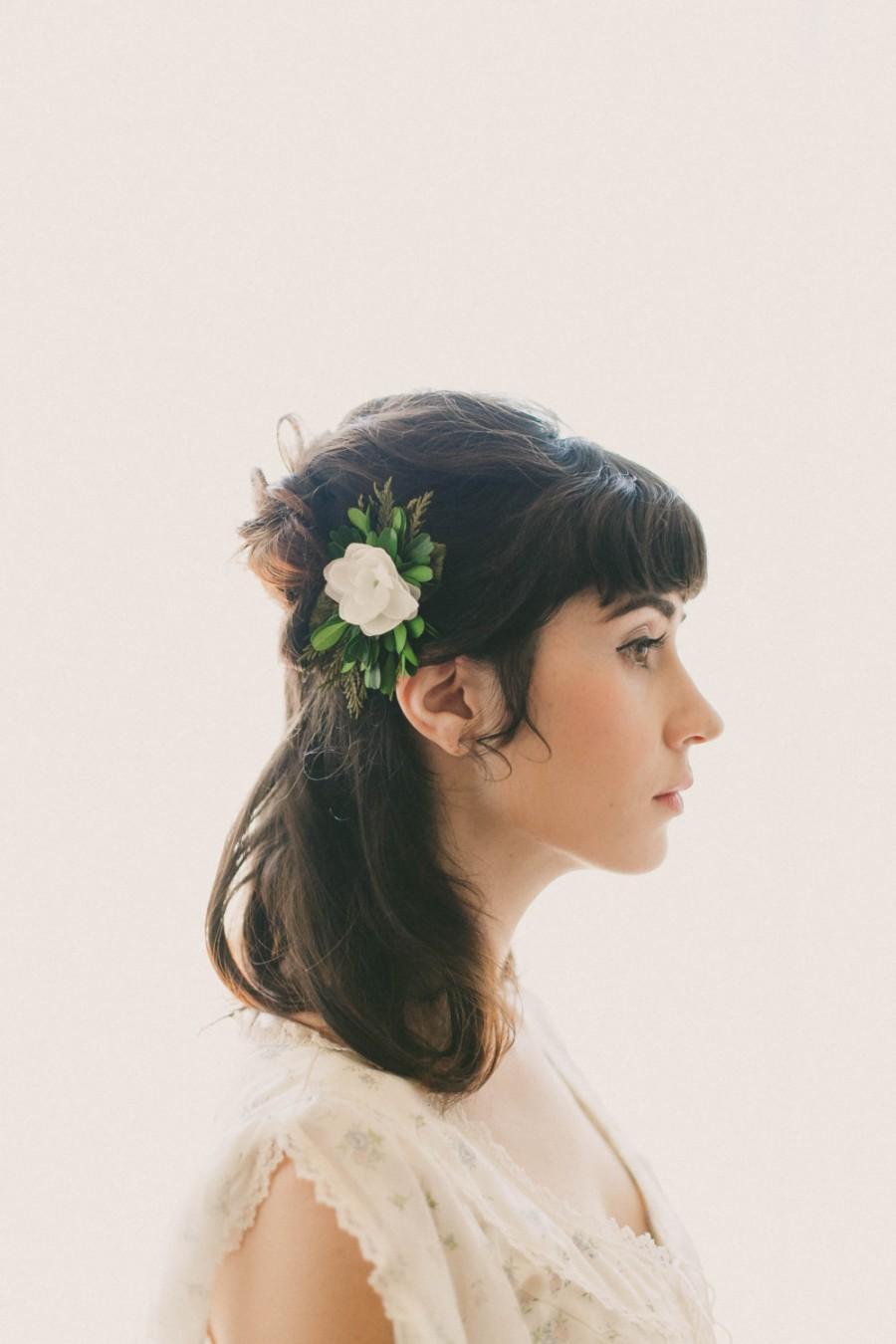 Mariage - Woodland bridal clip, Natural foliage, Rustic wedding hair clip, Unique bridal alternative, Hair clip wedding, Winter wedding hair clip