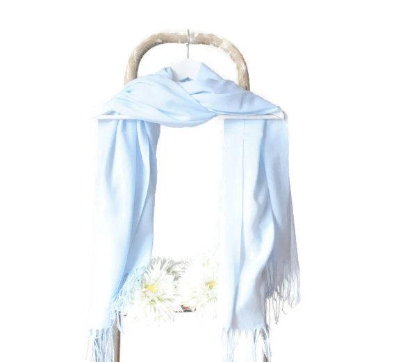 Mariage - Light Blue Shawl, Placid Blue Wrap, Wedding Shawl, Translucent Cotton Scarf, Bridal Shawl, Bridesmaids Gift, Soft Lightweight Fine Pashmina
