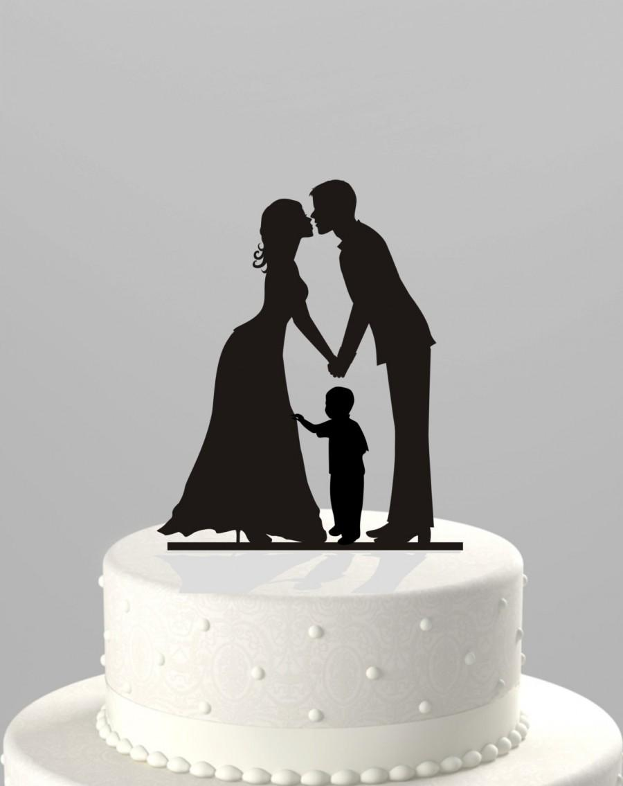 Mariage - Ships Next Day! Wedding Cake Topper Silhouette Groom and Bride with little Boy -  Family in BLACK Acrylic - Cake Topper [CT62b]