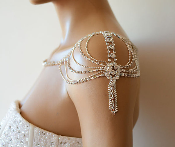 Wedding - Wedding Rhinestone Jewelry, Wedding Dress Shoulder, Wedding Dress Accessory, Bridal Epaulettes, Wedding Accessory, Bridal Accessory