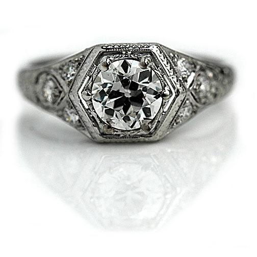 زفاف - Antique Engagement Ring Art Deco Engagement Ring Old 1.35ctw Old European Cut Diamond Filigree Platinum Art Deco Diamond Wedding Ring Size 8