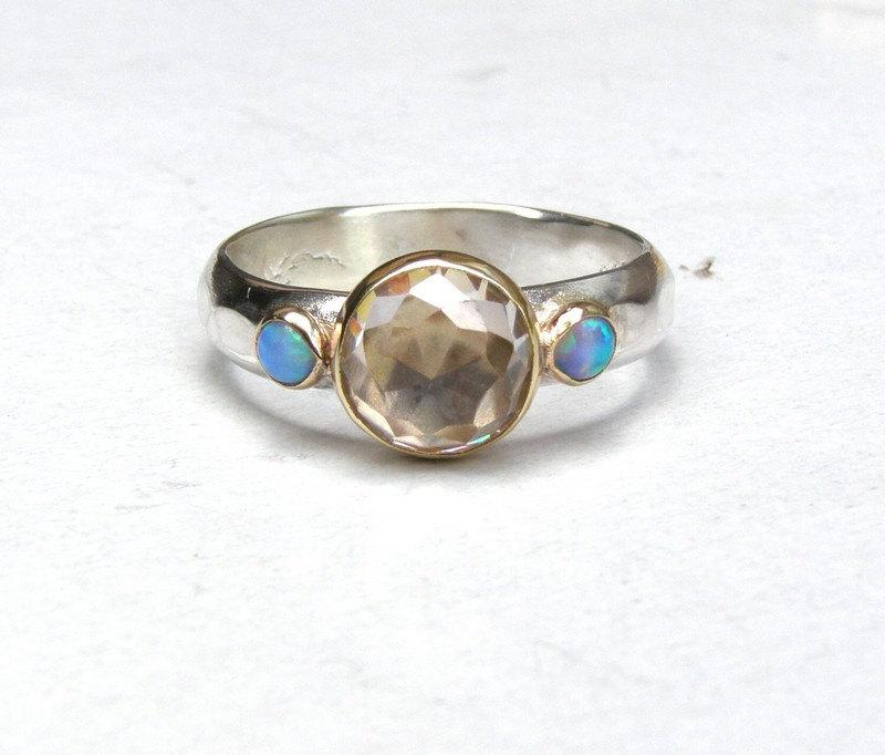 Свадьба - Engagement Ring, Similar diamond wedding ring, Anniversarry ring,Opal Silver ring ,whiteTopaz  and tiny Blue Opals ring, -MADE TO ORDER