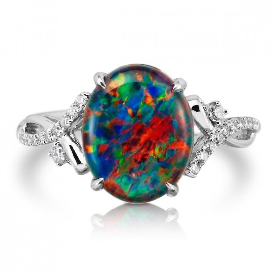 Natural Opal Ring 18k White Gold & Genuine Diamonds Rare Coober Pedy Mine Black  Opal Triplet Fashion Birthstone Anniversary Ring