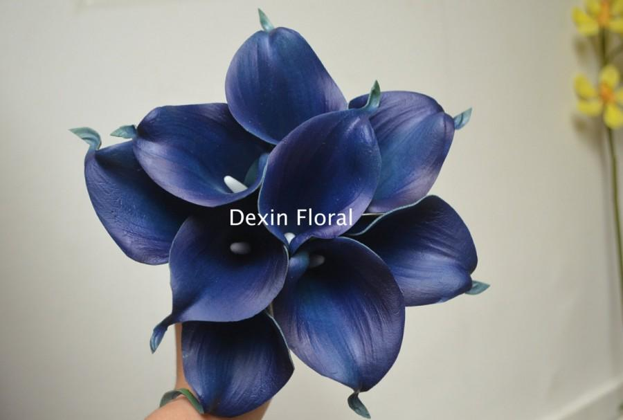 9 Stems Navy Blue Calla Lilies Real Touch Flowers Silk Bridal ...