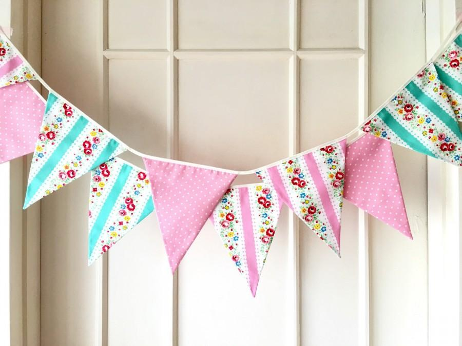 Shabby Chic Fabric Banners Bunting Garland Wedding Flags Mint Green And Pink Shade 3 Yards