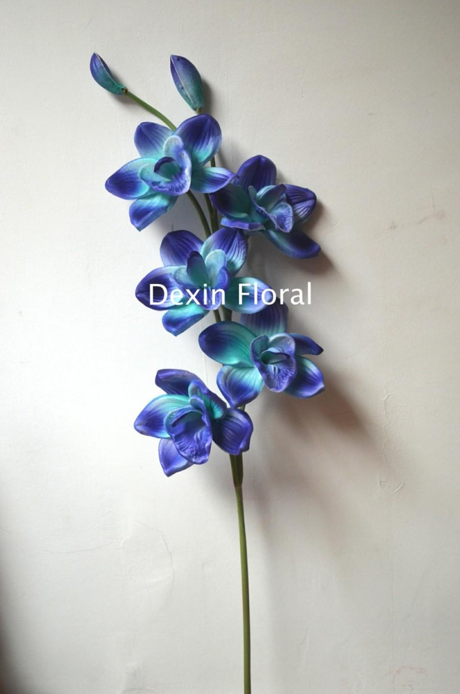 Hochzeit - Two Tone Blues Cymbidium Orchids Single Stems Centerpieces Real Touch Flowers Decorations Bridal Bouquets Wedding flowers