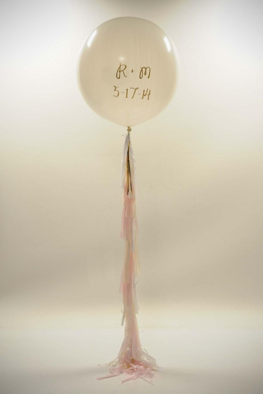 Свадьба - FREE SHIPPING Save the Date Personalized White Balloon and tassel garland balloon