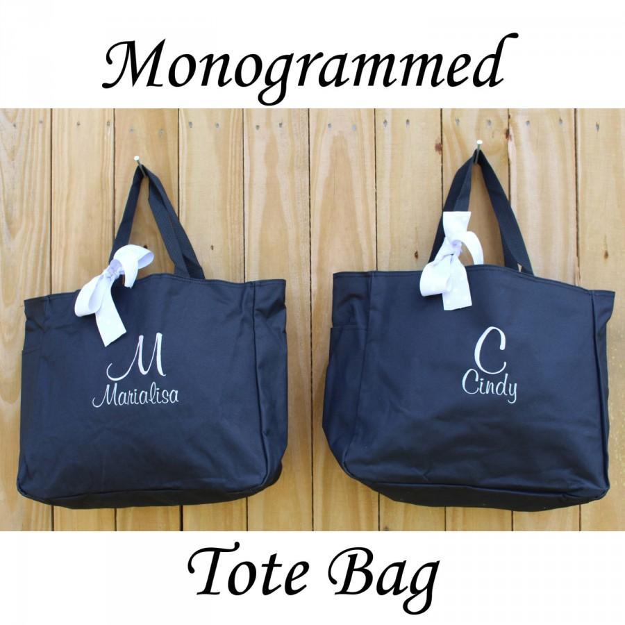Mariage - 5 Personalized Bridesmaid Tote Bag Personalized Tote, Bridesmaids Gift, Monogrammed Tote