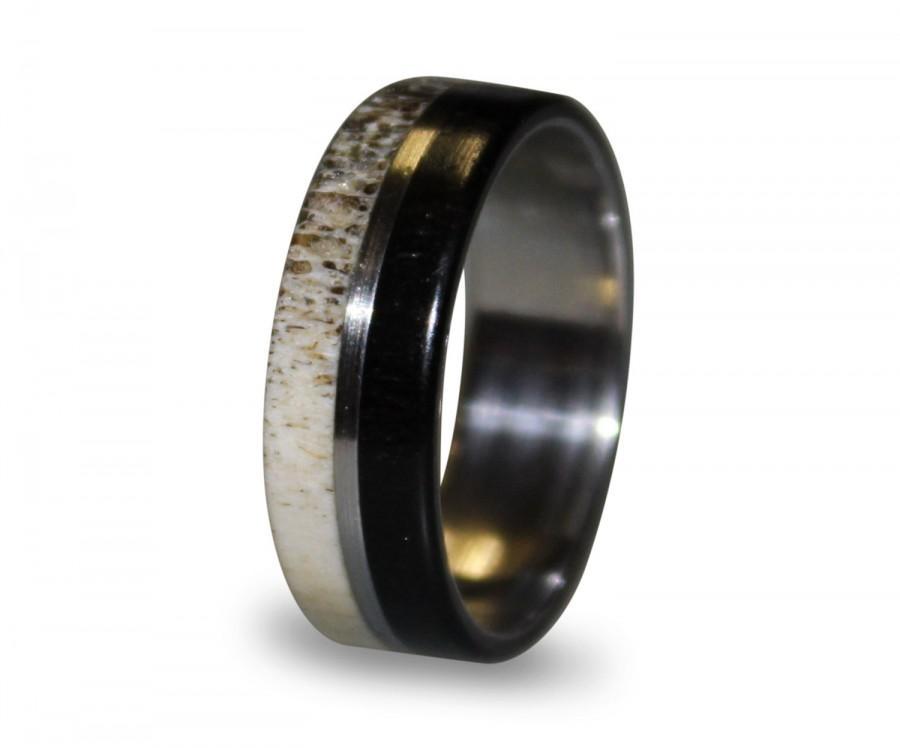 Titanium Ring Mens Titanium Wedding Band Deer Antler Antler Ring