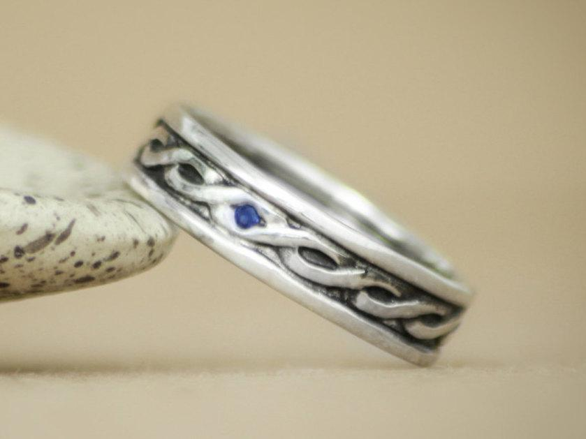 Wide Celtic Knot Pattern Band With Inset Stone In Sterling