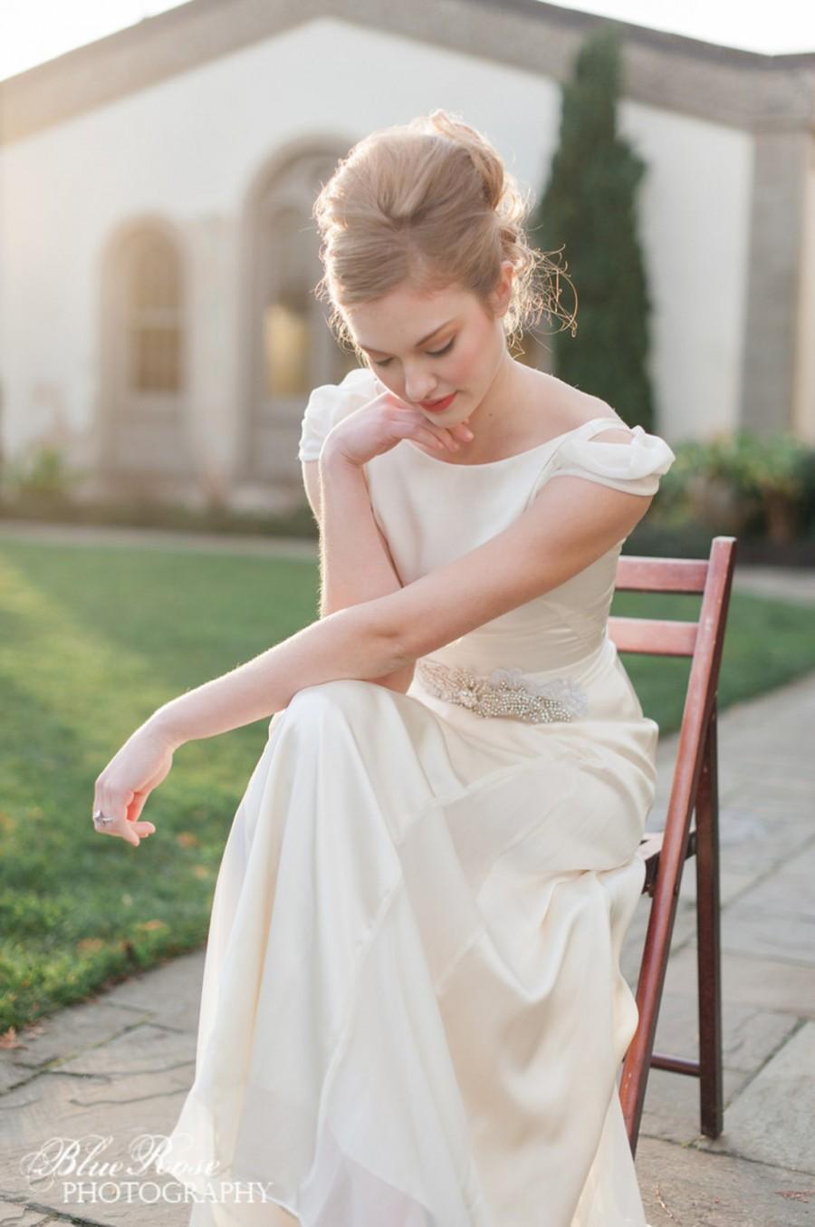 Wedding - Retro Wedding Dress, Cap Sleeve Wedding Dress, Ivory Silk Modest Wedding Dress, Vintage 1930s Inspired Sheath Wedding Dress - Stella Gown
