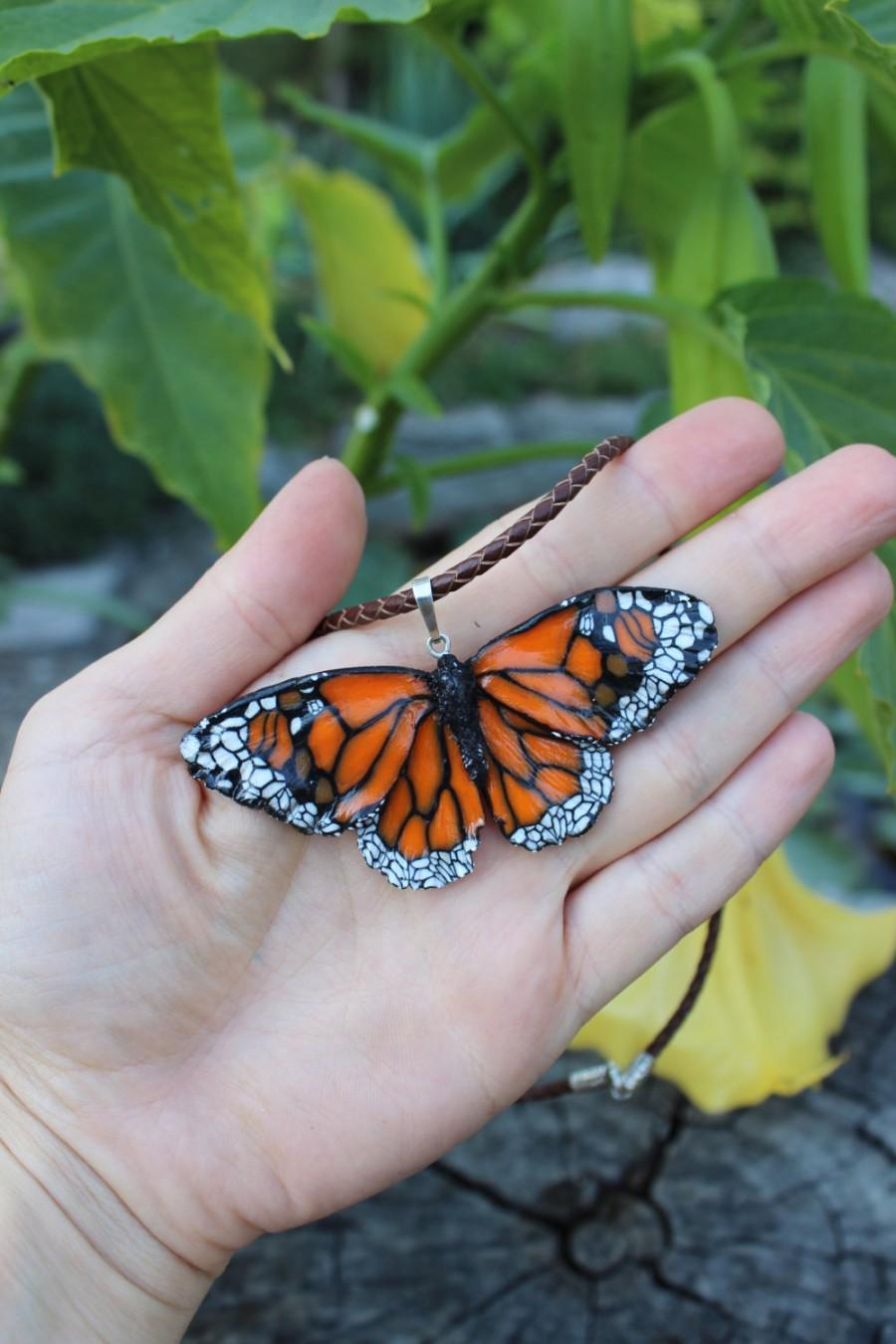Свадьба - Halloween jewelry, polymer clay pendant, butterfly pendant, 925 silver, OOAK jewelry for her,fimo, Bohemia insect gift, polymer boho jewelry
