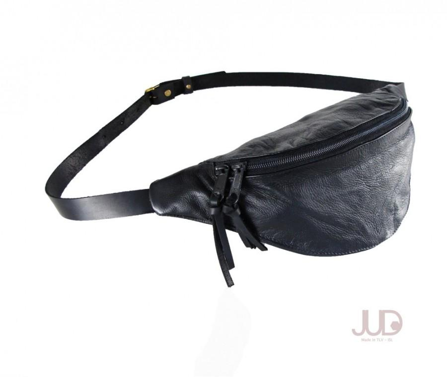 2cf4588b00 Black leather fanny pack - hip bag- waist Purse - black leather bag SALE waist  pack holster - soft black leather pouch- leather shoulder bag