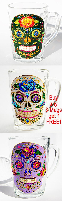 Wedding - Halloween Gift, Sugar Skulls Mug, Halloween Mug, Day of the Dead Skull Mug