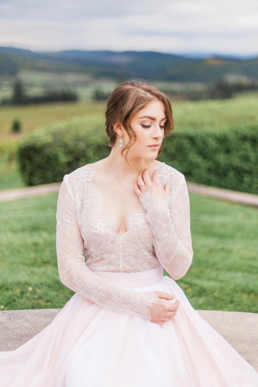زفاف - Savannah Top - Wedding Separate - Long Sleeve Lace Wedding Dress - Lace V Neck Top  - Plunge Neck Wedding Dress