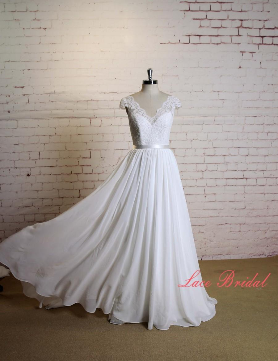 V neck wedding dress with cap sleeves a line chiffon skirt for A line skirt wedding dress