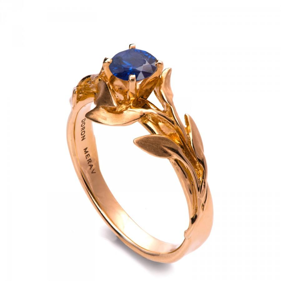 Mariage - Leaves Engagement Ring - 18K Rose Gold and Sapphire engagement ring, engagement ring, leaf ring, antique, September Birthstone, Recycled, 4
